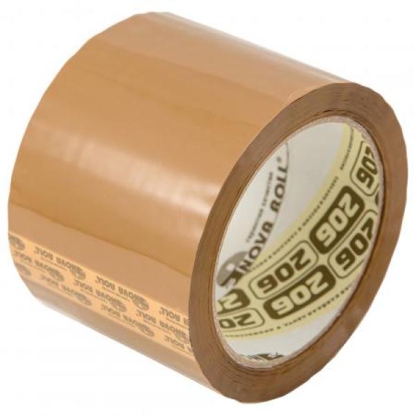 Широкий коричневый скотч «Нова Ролл» 75мм*66м, 47мкм
